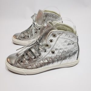 HOZ High Top Sneakers Silver White Size 5